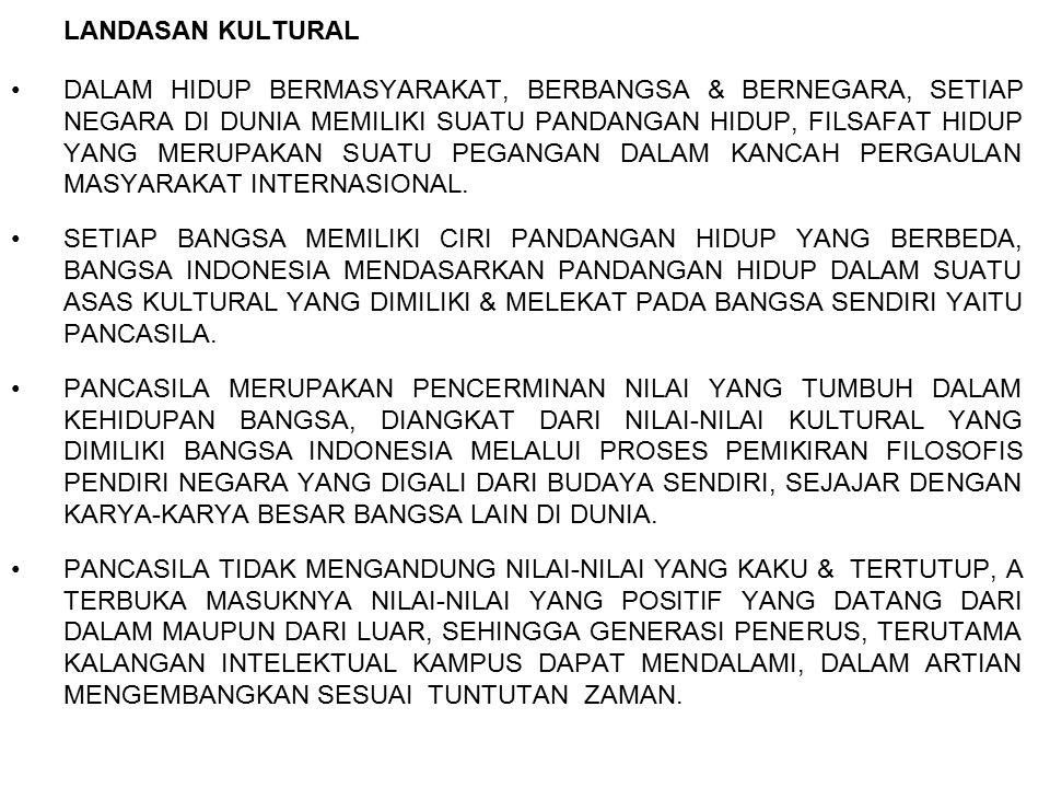 LANDASAN FILOSOFIS PANCASILA SEBAGAI DASAR FILSAFAT NEGARA & FILOSOFIS BANGSA INDONESIA, MERUPAKAN SUATU KEHARUSAN MORAL UNTUK SECARA KONSISTEN MEREALISASIKANNYA DALAM SETIAP ASPEK KEHIDUPAN DENGAN MENDASARKAN PADA NILAI-NILAI DALAM SILA-SILA PANCASILA.
