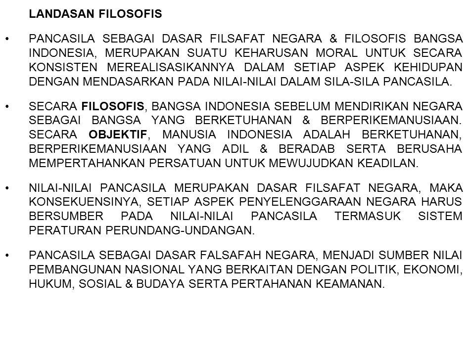 LANDASAN FILOSOFIS PANCASILA SEBAGAI DASAR FILSAFAT NEGARA & FILOSOFIS BANGSA INDONESIA, MERUPAKAN SUATU KEHARUSAN MORAL UNTUK SECARA KONSISTEN MEREAL