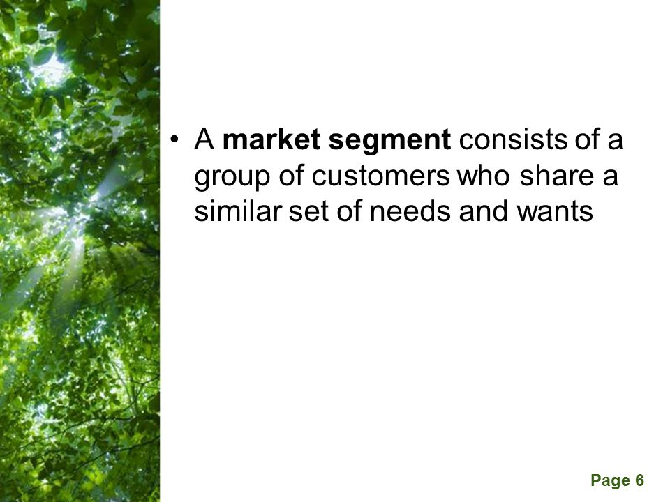 Free Powerpoint Templates Page 6 A market segment consists of a group of customers who share a similar set of needs and wants
