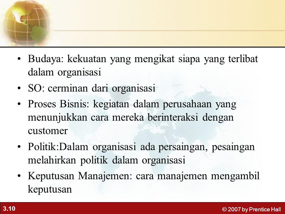 3.10 © 2007 by Prentice Hall Budaya: kekuatan yang mengikat siapa yang terlibat dalam organisasi SO: cerminan dari organisasi Proses Bisnis: kegiatan