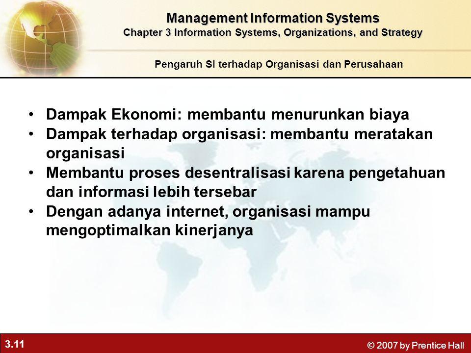 3.11 © 2007 by Prentice Hall Pengaruh SI terhadap Organisasi dan Perusahaan Management Information Systems Chapter 3 Information Systems, Organization