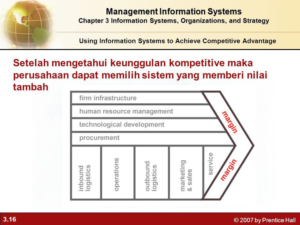 3.16 © 2007 by Prentice Hall Setelah mengetahui keunggulan kompetitive maka perusahaan dapat memilih sistem yang memberi nilai tambah Using Informatio