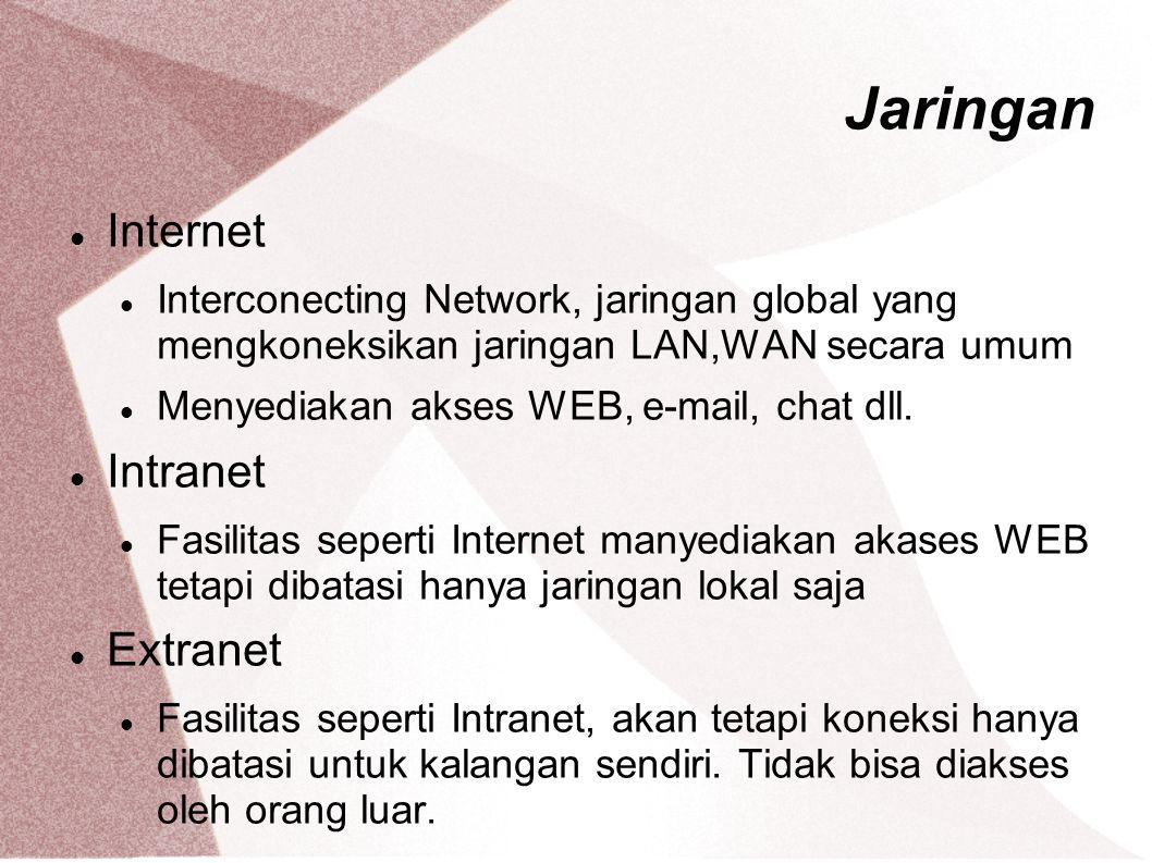 Jaringan Internet Interconecting Network, jaringan global yang mengkoneksikan jaringan LAN,WAN secara umum Menyediakan akses WEB, e-mail, chat dll. In