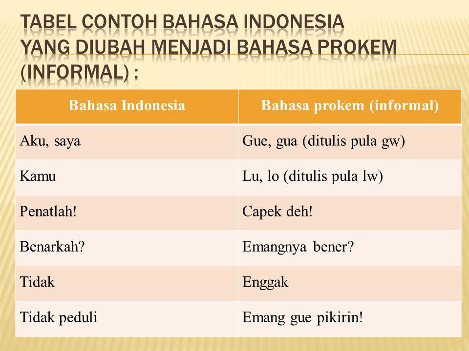 Bahasa gaul merupakan salah satu cabang dari bahasa Indonesia sebagai bahasa untuk pergaulan. Istilah ini mulai muncul pada akhir ahun 1980-an. Pada s