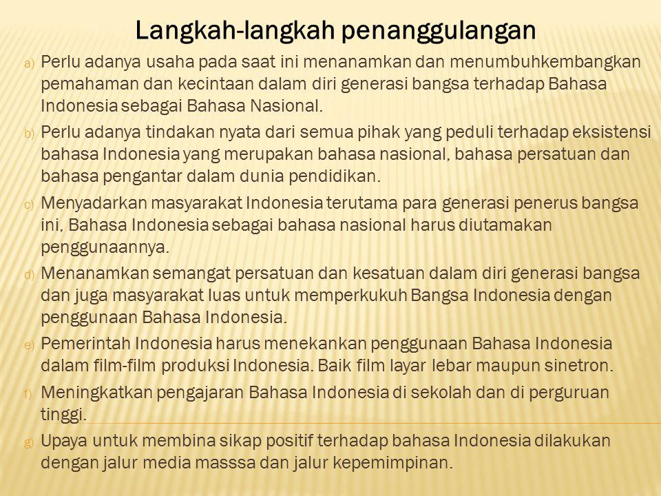 a) Menjadikan Lembaga Pendidikan Sebagai Basis Pembinaan Bahasa b) Perlunya Pemahaman Terhadap Bahasa Indonesia yang Baik dan Benar c) Diperlukan Adan