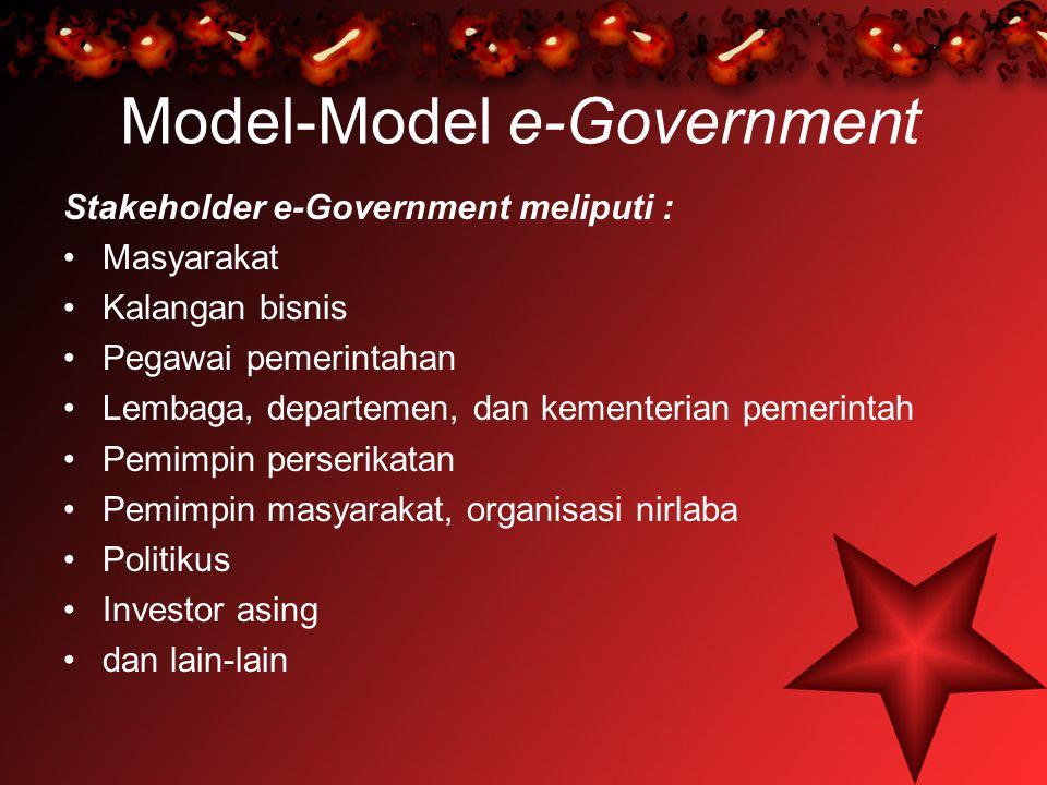 Model-Model e-Government Stakeholder e-Government meliputi : Masyarakat Kalangan bisnis Pegawai pemerintahan Lembaga, departemen, dan kementerian peme