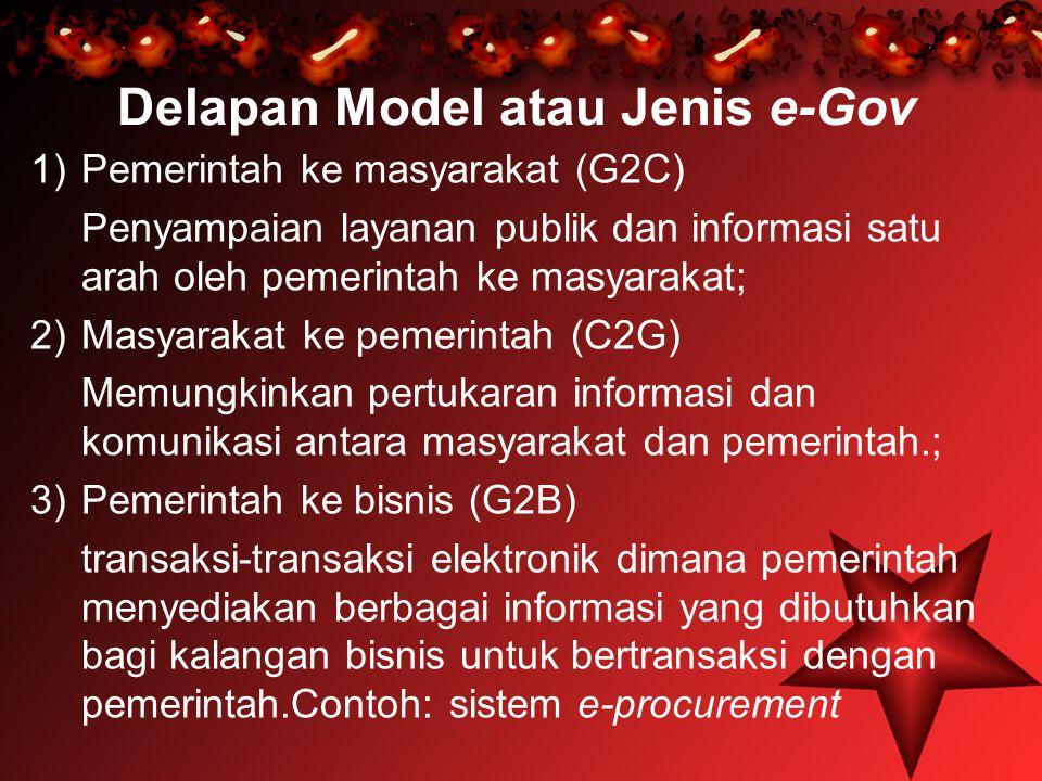 Delapan Model atau Jenis e-Gov 1)Pemerintah ke masyarakat (G2C) Penyampaian layanan publik dan informasi satu arah oleh pemerintah ke masyarakat; 2)Ma