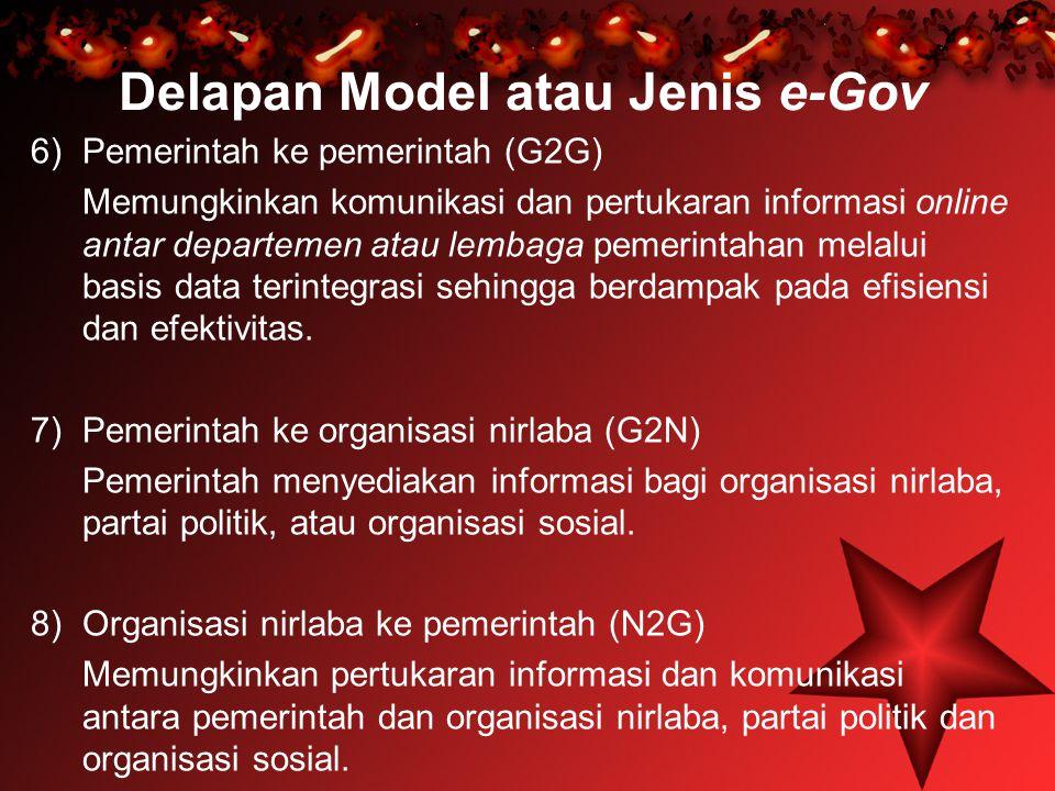 Delapan Model atau Jenis e-Gov 6) Pemerintah ke pemerintah (G2G) Memungkinkan komunikasi dan pertukaran informasi online antar departemen atau lembaga