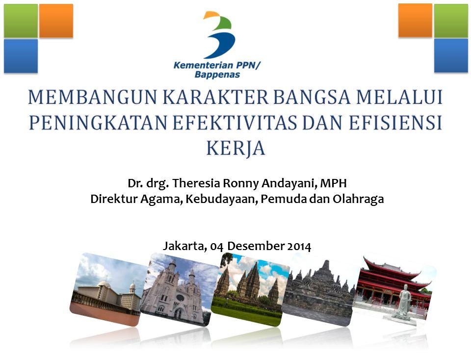 Dr. drg. Theresia Ronny Andayani, MPH Direktur Agama, Kebudayaan, Pemuda dan Olahraga Jakarta, 04 Desember 2014