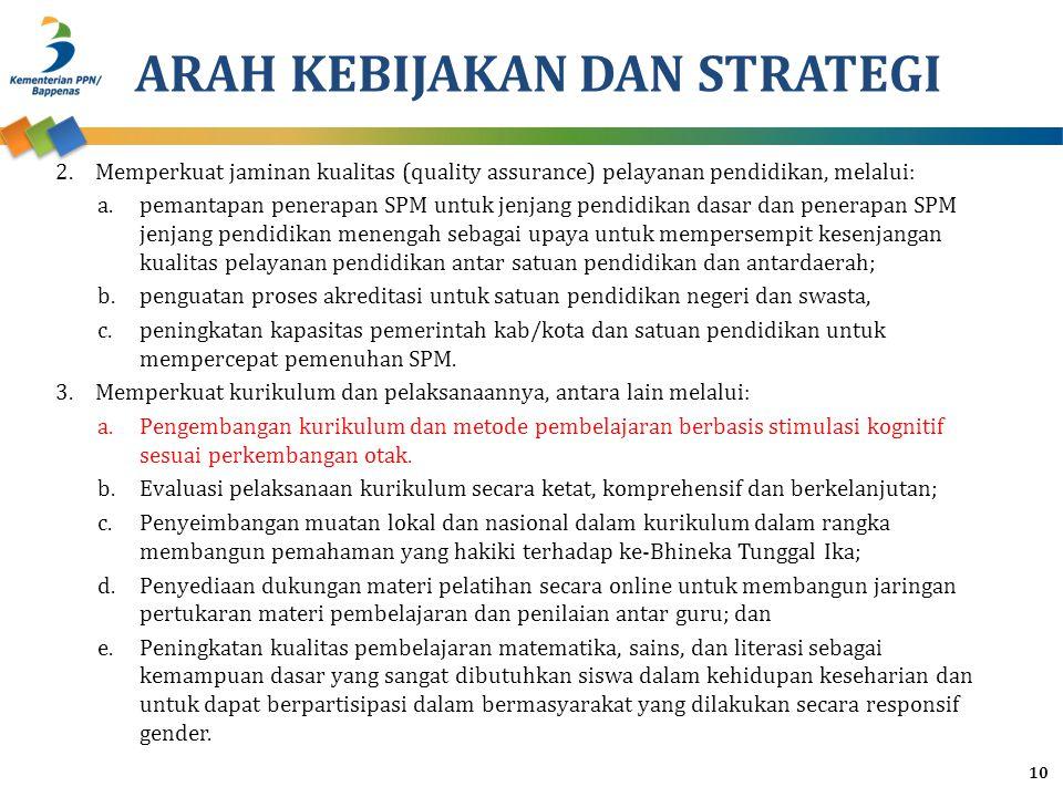 ARAH KEBIJAKAN DAN STRATEGI 2.Memperkuat jaminan kualitas (quality assurance) pelayanan pendidikan, melalui: a.pemantapan penerapan SPM untuk jenjang