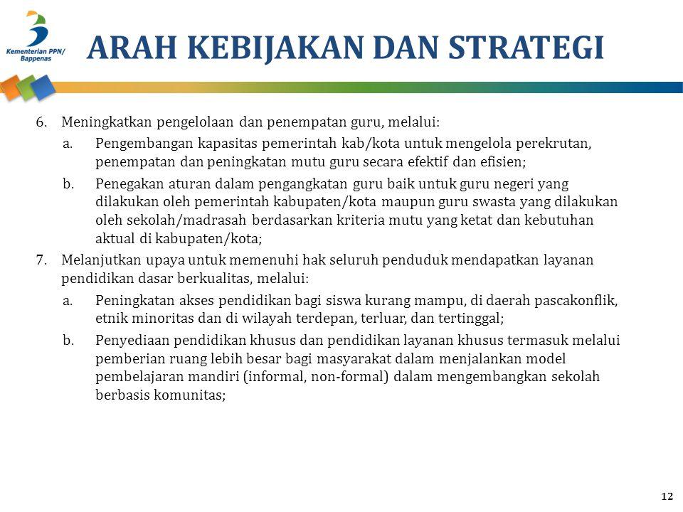ARAH KEBIJAKAN DAN STRATEGI 6.Meningkatkan pengelolaan dan penempatan guru, melalui: a.Pengembangan kapasitas pemerintah kab/kota untuk mengelola pere