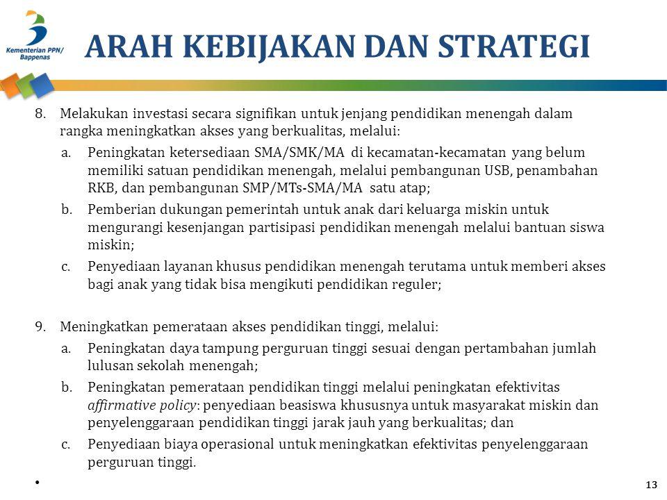 ARAH KEBIJAKAN DAN STRATEGI 8.Melakukan investasi secara signifikan untuk jenjang pendidikan menengah dalam rangka meningkatkan akses yang berkualitas