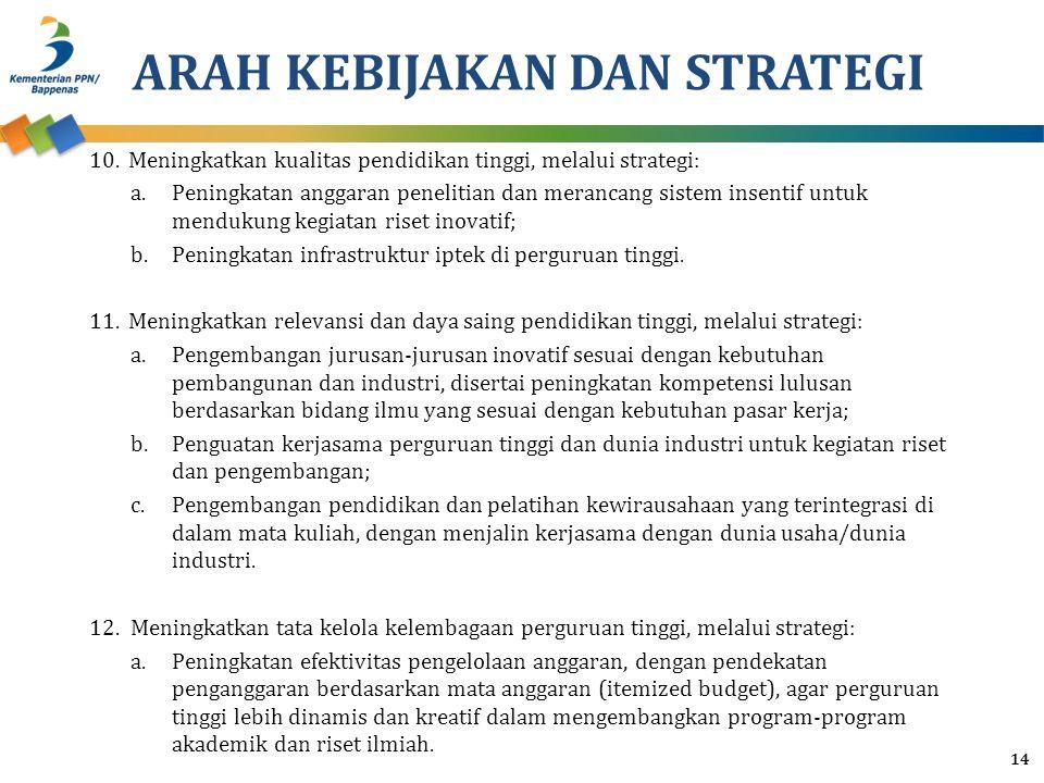 ARAH KEBIJAKAN DAN STRATEGI 10.Meningkatkan kualitas pendidikan tinggi, melalui strategi: a.Peningkatan anggaran penelitian dan merancang sistem insen