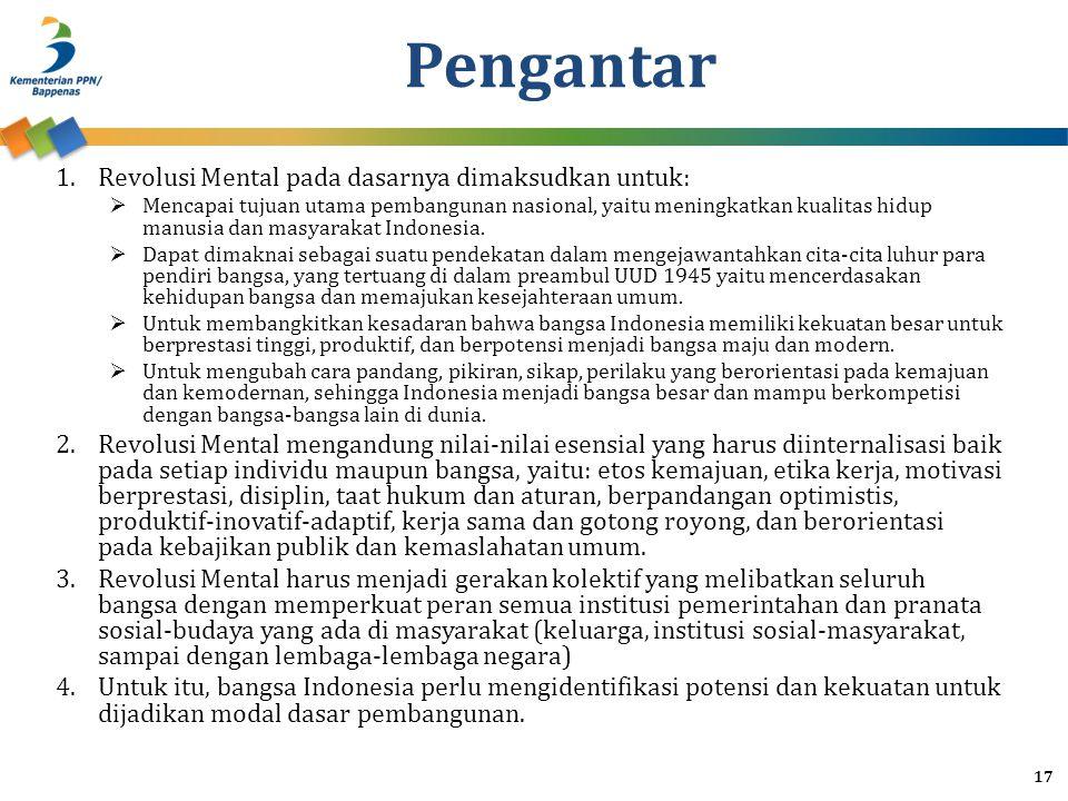 Pengantar 1.Revolusi Mental pada dasarnya dimaksudkan untuk:  Mencapai tujuan utama pembangunan nasional, yaitu meningkatkan kualitas hidup manusia dan masyarakat Indonesia.