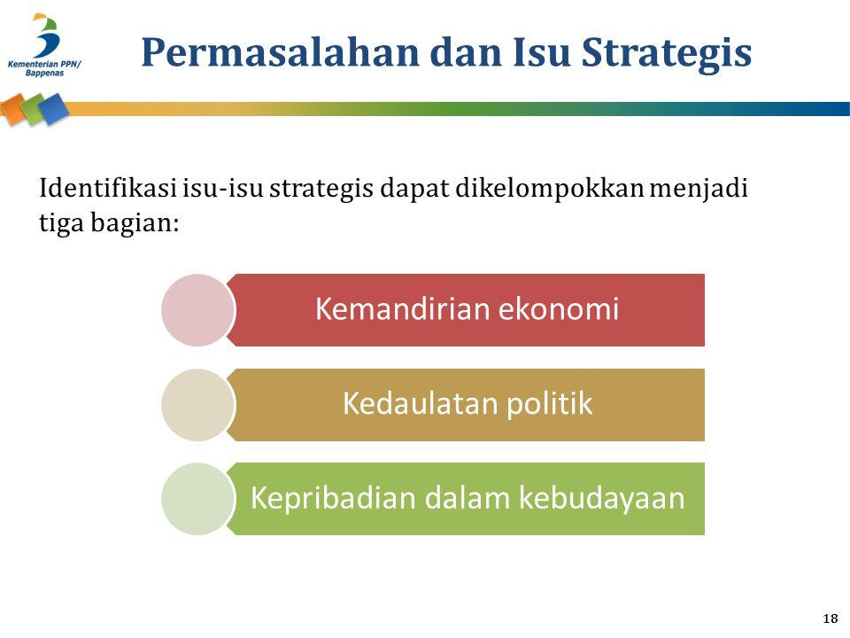 Permasalahan dan Isu Strategis Kemandirian ekonomi Kedaulatan politik Kepribadian dalam kebudayaan 18 Identifikasi isu-isu strategis dapat dikelompokkan menjadi tiga bagian: