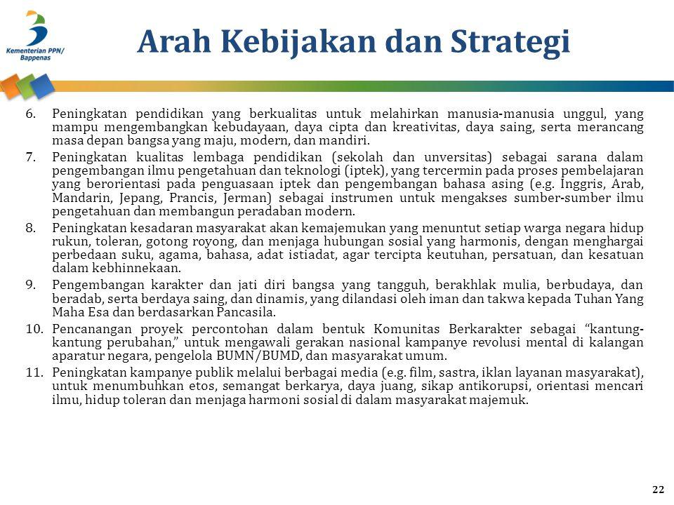 Arah Kebijakan dan Strategi 6.Peningkatan pendidikan yang berkualitas untuk melahirkan manusia-manusia unggul, yang mampu mengembangkan kebudayaan, daya cipta dan kreativitas, daya saing, serta merancang masa depan bangsa yang maju, modern, dan mandiri.