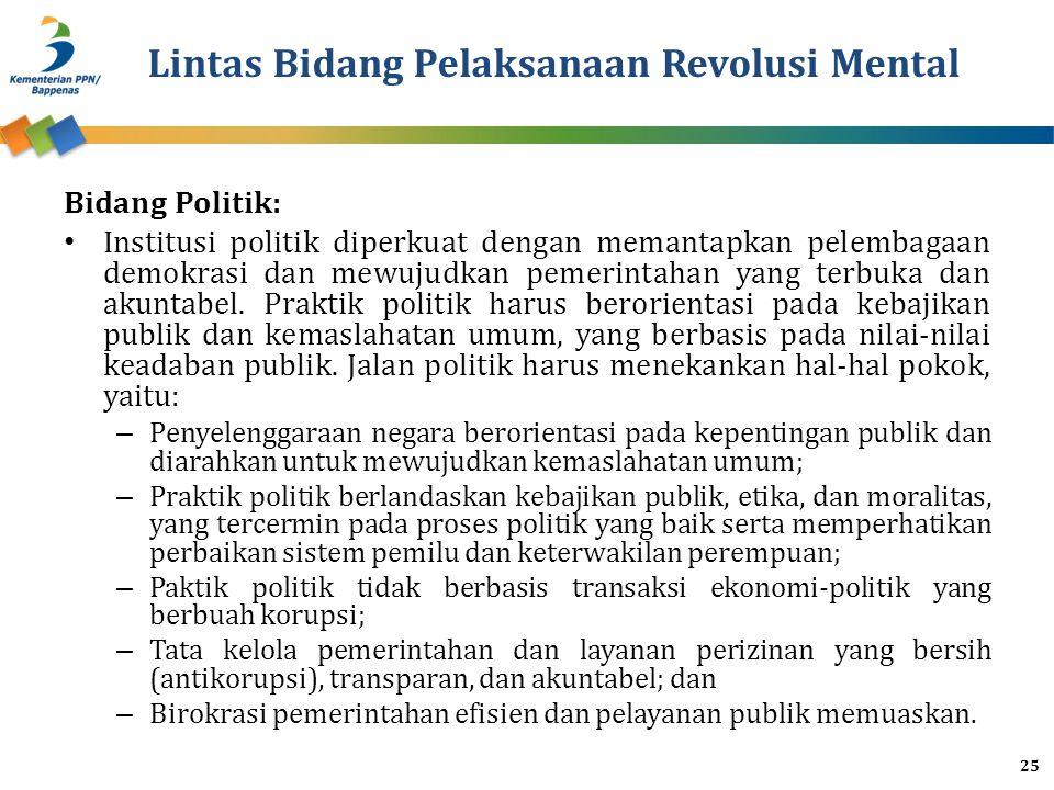 Lintas Bidang Pelaksanaan Revolusi Mental Bidang Politik: Institusi politik diperkuat dengan memantapkan pelembagaan demokrasi dan mewujudkan pemerintahan yang terbuka dan akuntabel.