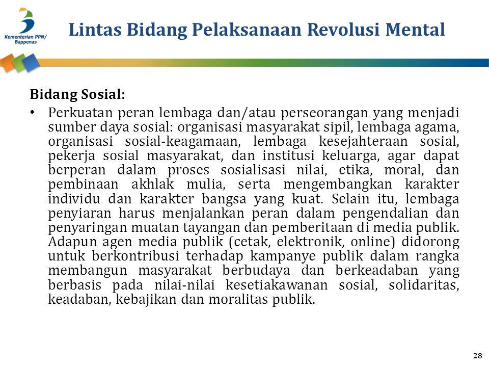 Lintas Bidang Pelaksanaan Revolusi Mental Bidang Sosial: Perkuatan peran lembaga dan/atau perseorangan yang menjadi sumber daya sosial: organisasi mas