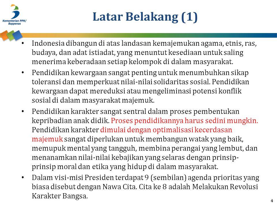 Latar Belakang (1) Indonesia dibangun di atas landasan kemajemukan agama, etnis, ras, budaya, dan adat istiadat, yang menuntut kesediaan untuk saling menerima keberadaan setiap kelompok di dalam masyarakat.