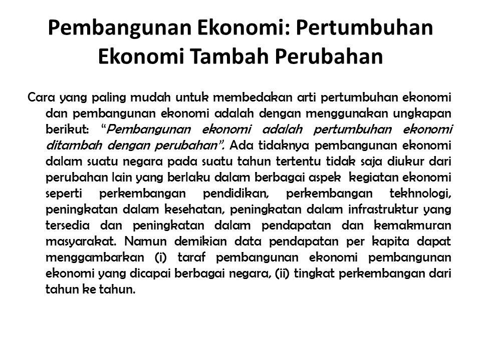 Pembangunan Ekonomi: Pertumbuhan Ekonomi Tambah Perubahan Cara yang paling mudah untuk membedakan arti pertumbuhan ekonomi dan pembangunan ekonomi ada