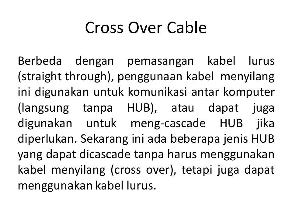 Cross Over Cable Berbeda dengan pemasangan kabel lurus (straight through), penggunaan kabel menyilang ini digunakan untuk komunikasi antar komputer (l