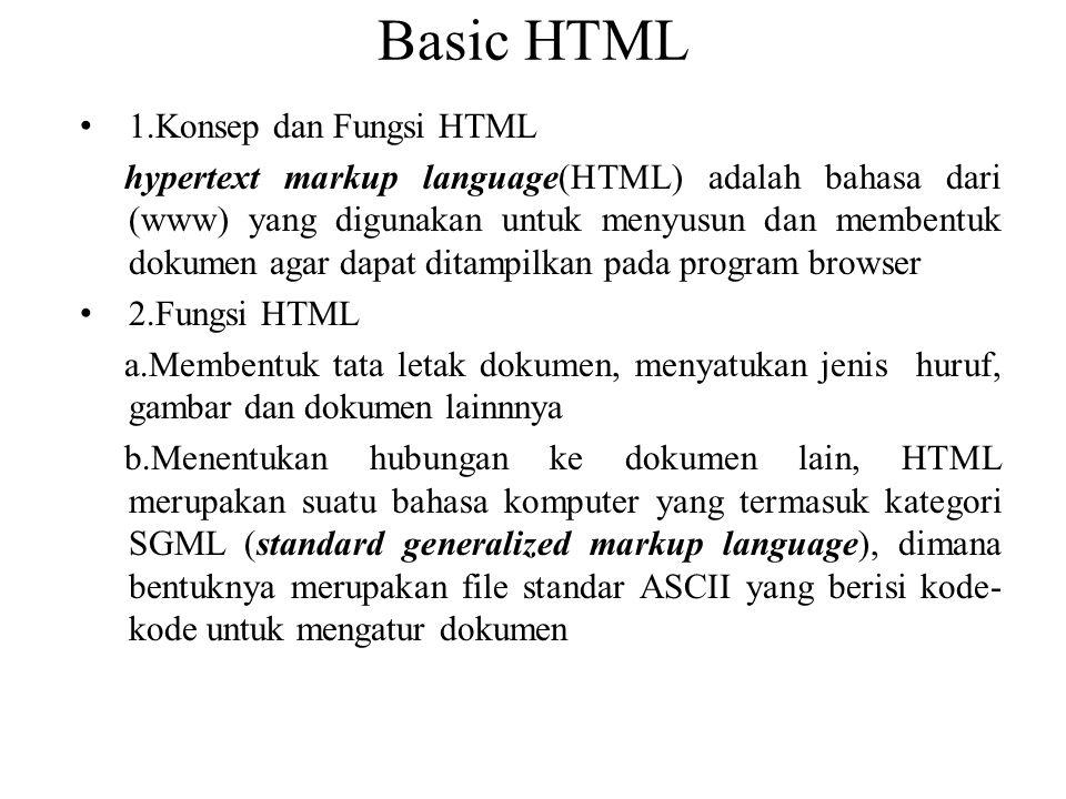 Basic HTML 1.Konsep dan Fungsi HTML hypertext markup language(HTML) adalah bahasa dari (www) yang digunakan untuk menyusun dan membentuk dokumen agar
