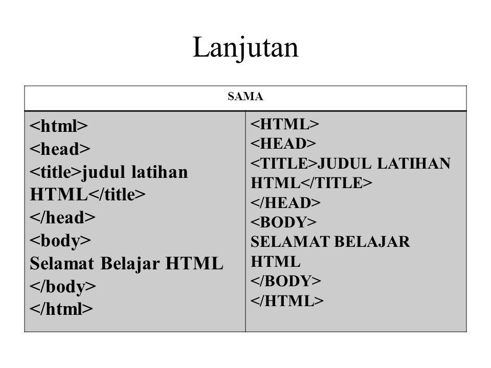 Lanjutan SAMA judul latihan HTML Selamat Belajar HTML JUDUL LATIHAN HTML SELAMAT BELAJAR HTML
