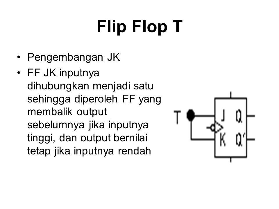 Flip Flop T Pengembangan JK FF JK inputnya dihubungkan menjadi satu sehingga diperoleh FF yang membalik output sebelumnya jika inputnya tinggi, dan ou