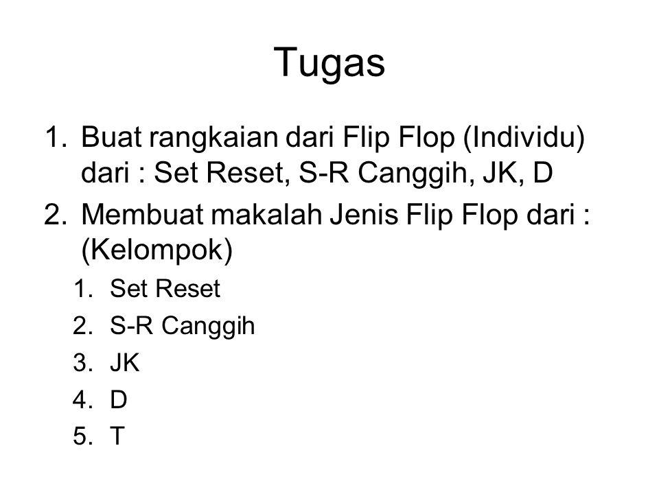 Tugas 1.Buat rangkaian dari Flip Flop (Individu) dari : Set Reset, S-R Canggih, JK, D 2.Membuat makalah Jenis Flip Flop dari : (Kelompok) 1.Set Reset