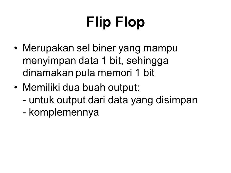 Flip Flop Merupakan sel biner yang mampu menyimpan data 1 bit, sehingga dinamakan pula memori 1 bit Memiliki dua buah output: - untuk output dari data