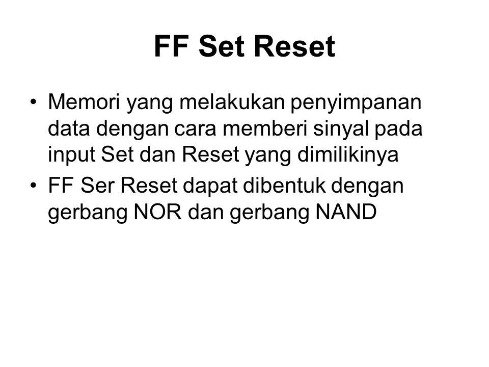 FF Set Reset Memori yang melakukan penyimpanan data dengan cara memberi sinyal pada input Set dan Reset yang dimilikinya FF Ser Reset dapat dibentuk d