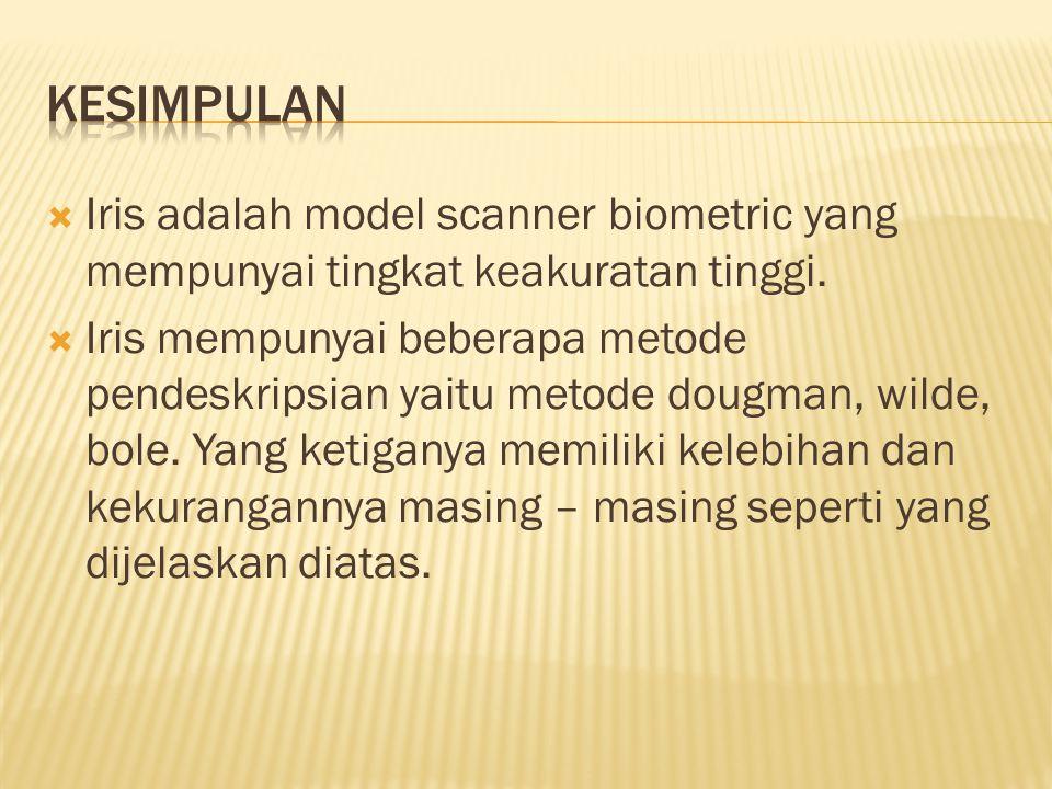  Iris adalah model scanner biometric yang mempunyai tingkat keakuratan tinggi.