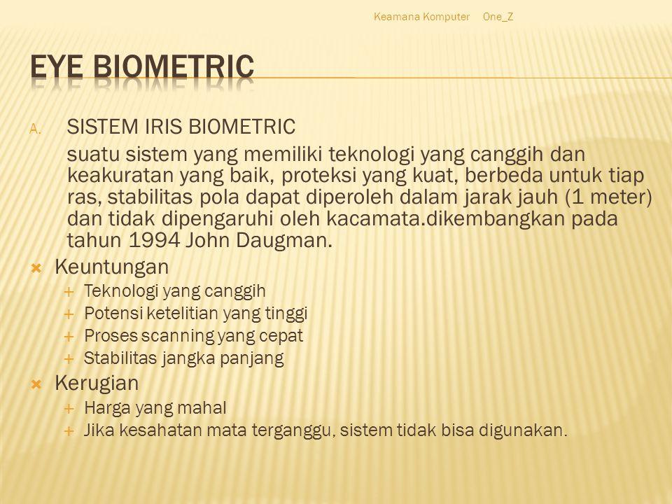 A. SISTEM IRIS BIOMETRIC suatu sistem yang memiliki teknologi yang canggih dan keakuratan yang baik, proteksi yang kuat, berbeda untuk tiap ras, stabi