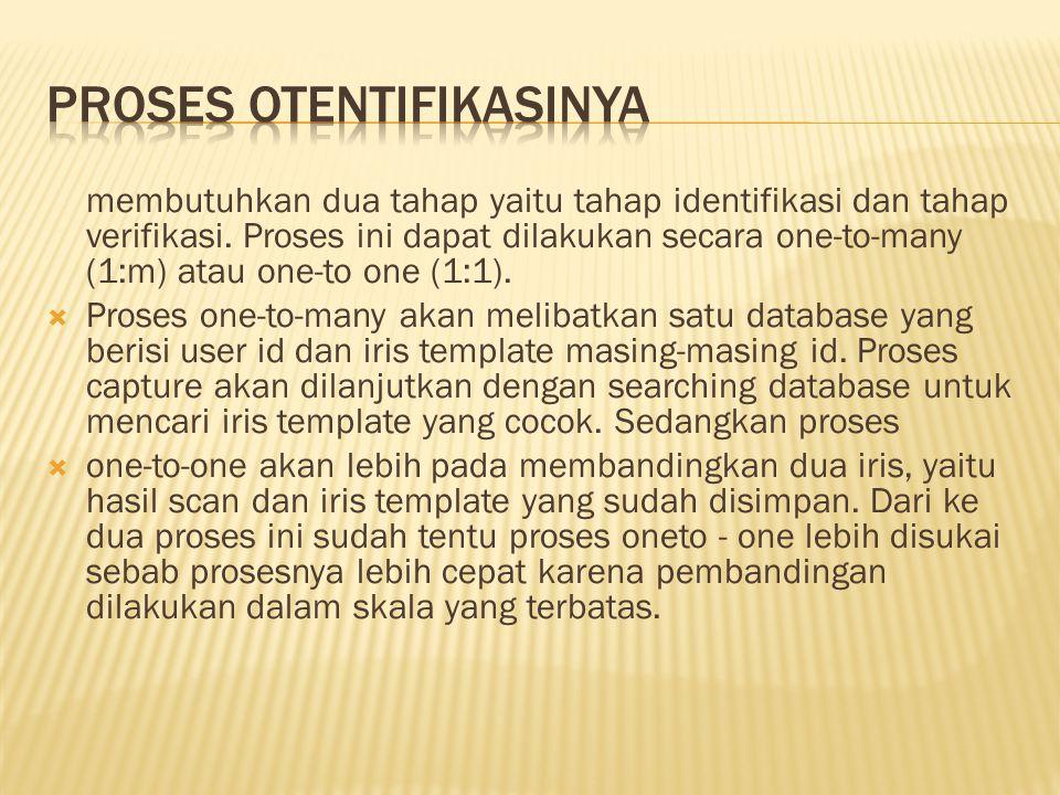 membutuhkan dua tahap yaitu tahap identifikasi dan tahap verifikasi.