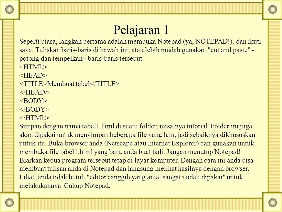 Pelajaran 1 Seperti biasa, langkah pertama adalah membuka Notepad (ya, NOTEPAD!), dan ikuti saya.