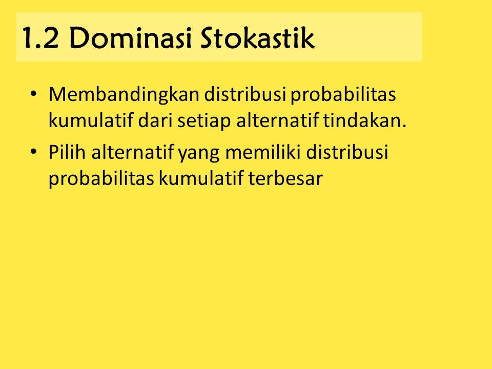 1.2 Dominasi Stokastik Membandingkan distribusi probabilitas kumulatif dari setiap alternatif tindakan. Pilih alternatif yang memiliki distribusi prob