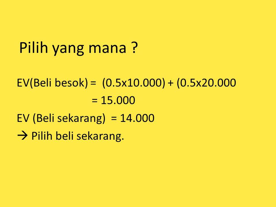 Pilih yang mana ? EV(Beli besok) = (0.5x10.000) + (0.5x20.000 = 15.000 EV (Beli sekarang) = 14.000  Pilih beli sekarang.
