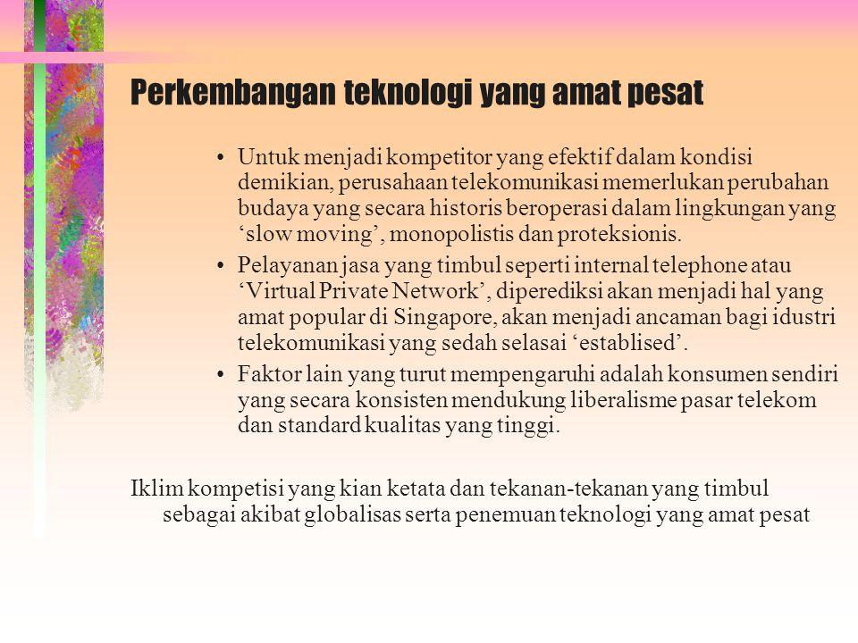 Perkembangan teknologi yang amat pesat Untuk menjadi kompetitor yang efektif dalam kondisi demikian, perusahaan telekomunikasi memerlukan perubahan bu