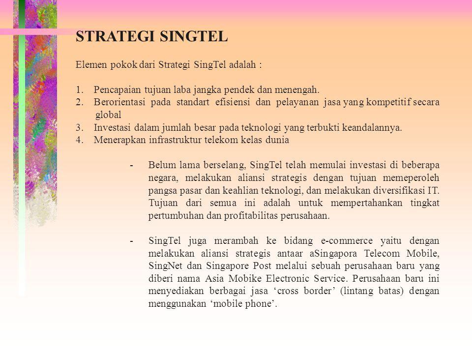 STRATEGI SINGTEL Elemen pokok dari Strategi SingTel adalah : 1. Pencapaian tujuan laba jangka pendek dan menengah. 2. Berorientasi pada standart efisi