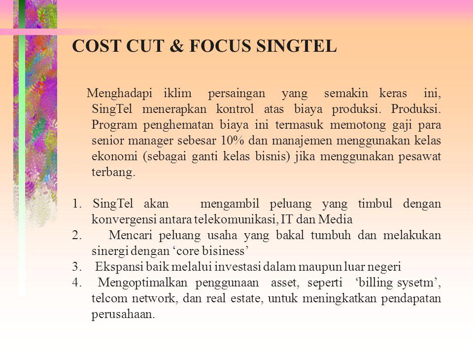 COST CUT & FOCUS SINGTEL Menghadapi iklim persaingan yang semakin keras ini, SingTel menerapkan kontrol atas biaya produksi. Produksi. Program penghem