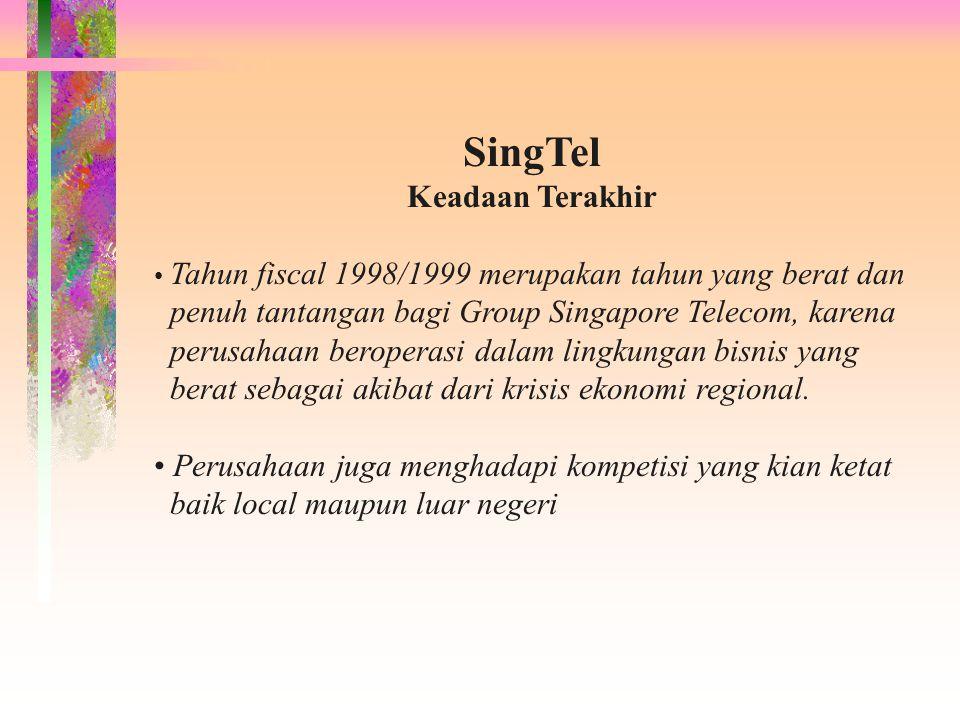 SingTel Keadaan Terakhir Tahun fiscal 1998/1999 merupakan tahun yang berat dan penuh tantangan bagi Group Singapore Telecom, karena perusahaan beroper