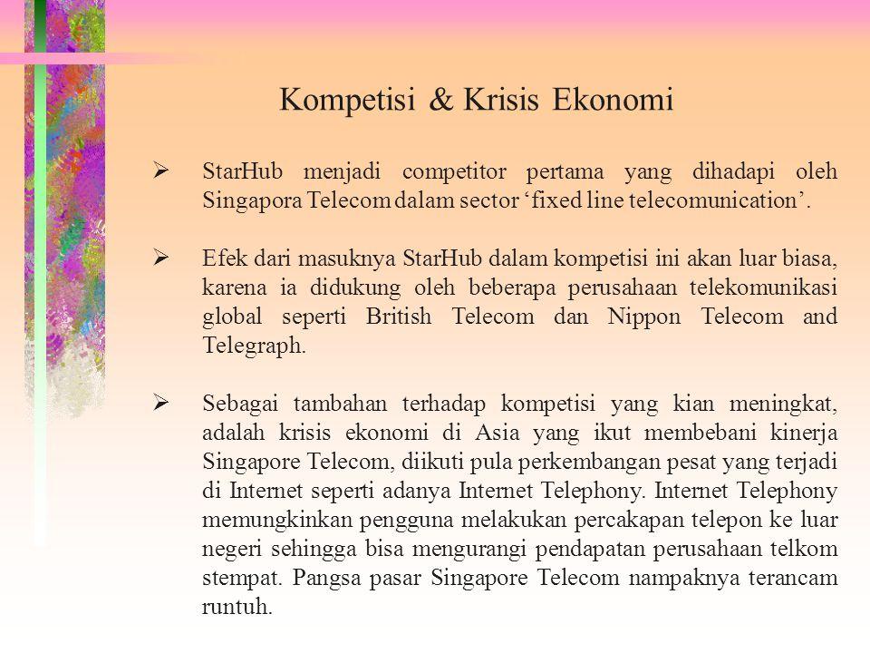 Kompetisi & Krisis Ekonomi  StarHub menjadi competitor pertama yang dihadapi oleh Singapora Telecom dalam sector 'fixed line telecomunication'.  Efe