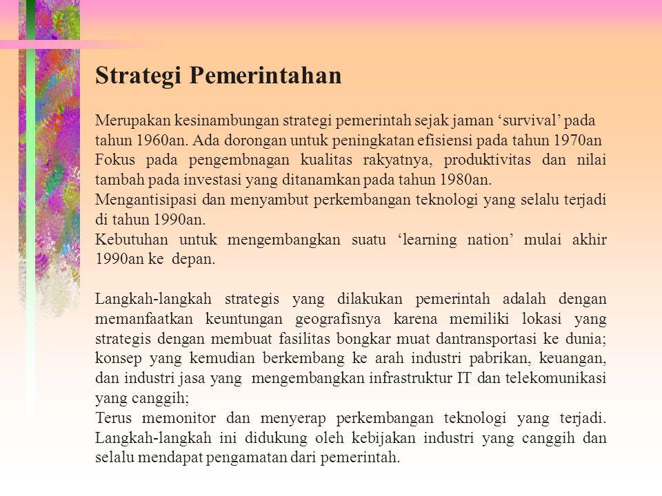 Strategi Pemerintahan Merupakan kesinambungan strategi pemerintah sejak jaman 'survival' pada tahun 1960an. Ada dorongan untuk peningkatan efisiensi p