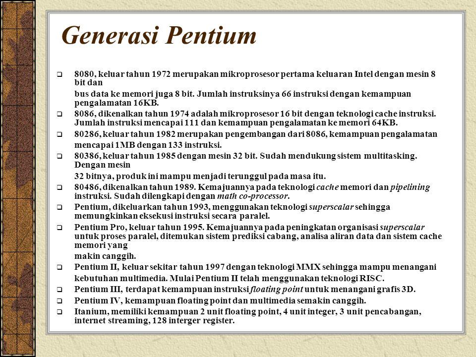 Generasi Pentium  8080, keluar tahun 1972 merupakan mikroprosesor pertama keluaran Intel dengan mesin 8 bit dan bus data ke memori juga 8 bit. Jumlah