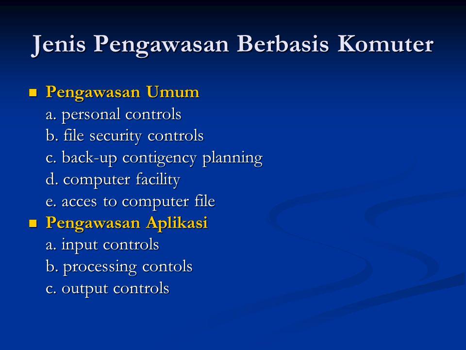 Jenis Pengawasan Berbasis Komuter Pengawasan Umum Pengawasan Umum a. personal controls b. file security controls c. back-up contigency planning d. com
