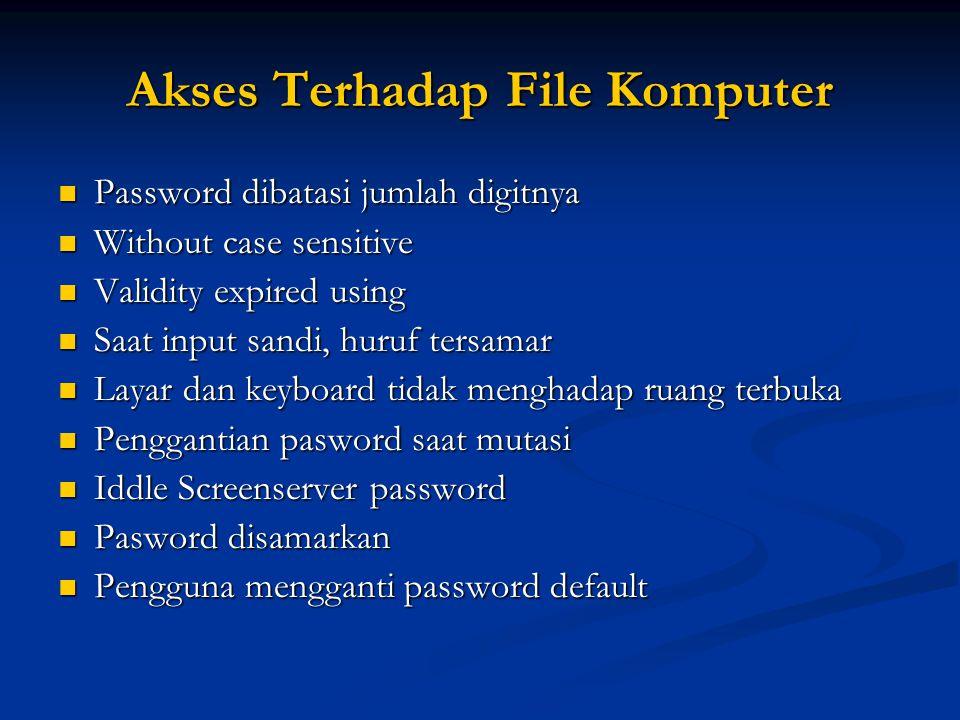 Akses Terhadap File Komputer Password dibatasi jumlah digitnya Password dibatasi jumlah digitnya Without case sensitive Without case sensitive Validit
