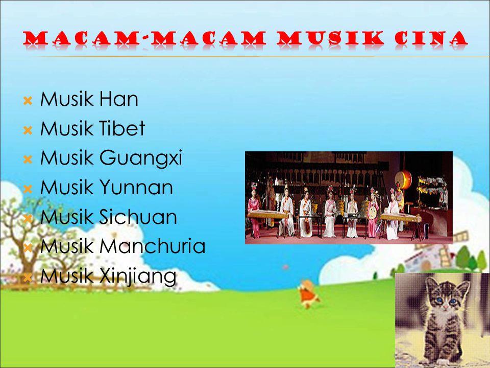  Musik Han  Musik Tibet  Musik Guangxi  Musik Yunnan  Musik Sichuan  Musik Manchuria  Musik Xinjiang