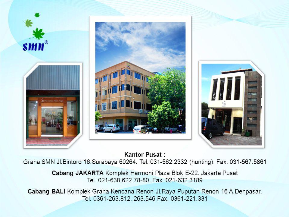 Kantor Pusat : Graha SMN Jl.Bintoro 16.Surabaya 60264. Tel. 031-562.2332 (hunting), Fax. 031-567.5861 Cabang JAKARTA Komplek Harmoni Plaza Blok E-22.