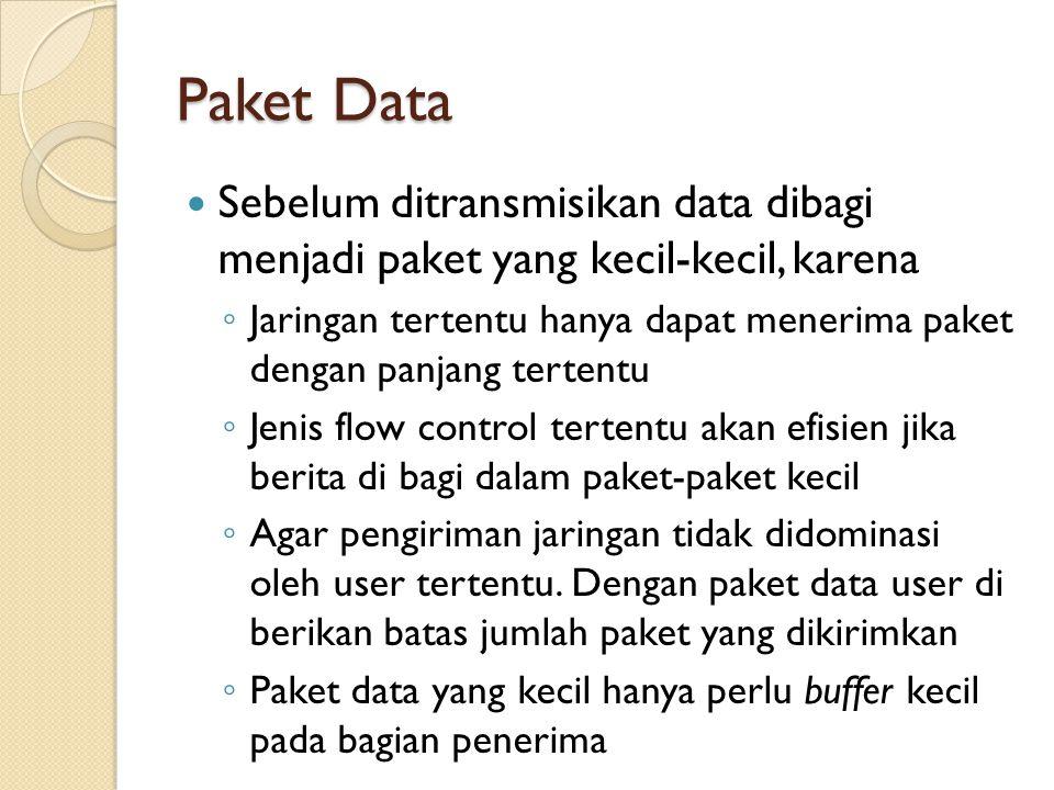 Paket Data Sebelum ditransmisikan data dibagi menjadi paket yang kecil-kecil, karena ◦ Jaringan tertentu hanya dapat menerima paket dengan panjang tertentu ◦ Jenis flow control tertentu akan efisien jika berita di bagi dalam paket-paket kecil ◦ Agar pengiriman jaringan tidak didominasi oleh user tertentu.