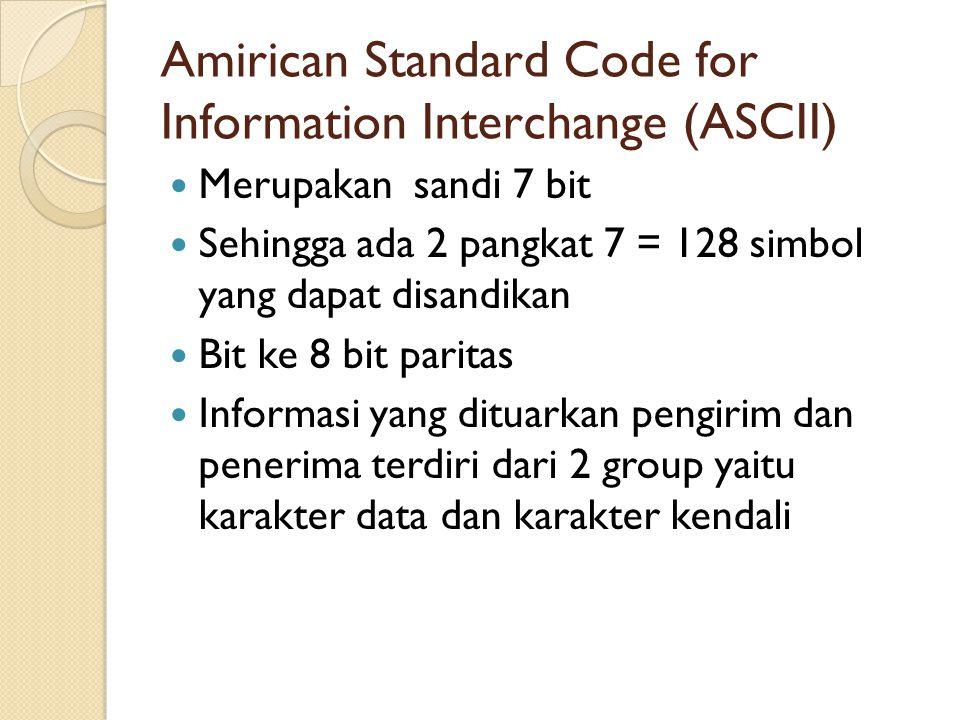 Amirican Standard Code for Information Interchange (ASCII) Merupakan sandi 7 bit Sehingga ada 2 pangkat 7 = 128 simbol yang dapat disandikan Bit ke 8 bit paritas Informasi yang dituarkan pengirim dan penerima terdiri dari 2 group yaitu karakter data dan karakter kendali